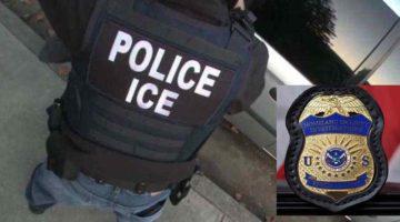 Un agente de ICE y una placa de la agencia federal