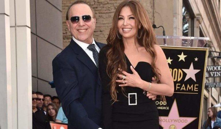¡Thalía feliz! Mottola tambiéntiene su estrella en Hollywood