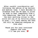 Comunicado de Serena Williams