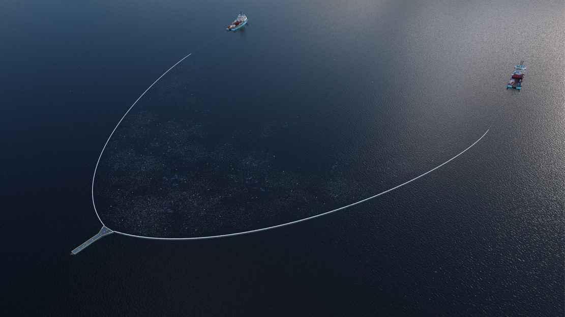 Enorme red que recoge los plásticos del océano. Ocean Cleanup. Systema 002.