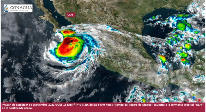 Huracán categoría 2, Olaf, toca tierra en Baja California