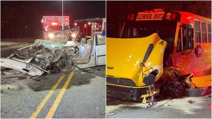 Un herido tras aparatoso accidente con autobús escolar