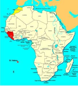 Ilustración de Guiena Ecuatorial en el continente africano